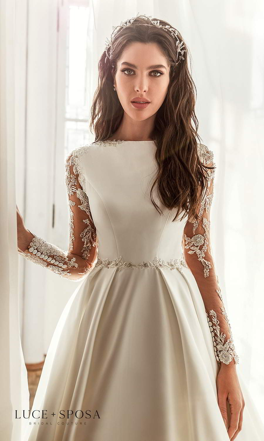 luce sposa 2021 shades of couture bridal illusion long sleeves bateau neckline embellished waist minimalist a line ball gown wedding dress chapel trian (paige) zv