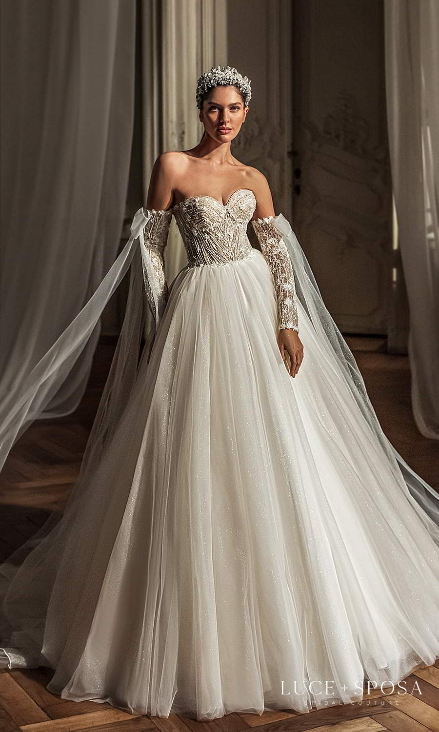 luce sposa 2021 shades of couture bridal long detached sleeves strapless sweetheart neckline heavily embellished bodice a line ball gown wedding dress chapel train (emery) mv