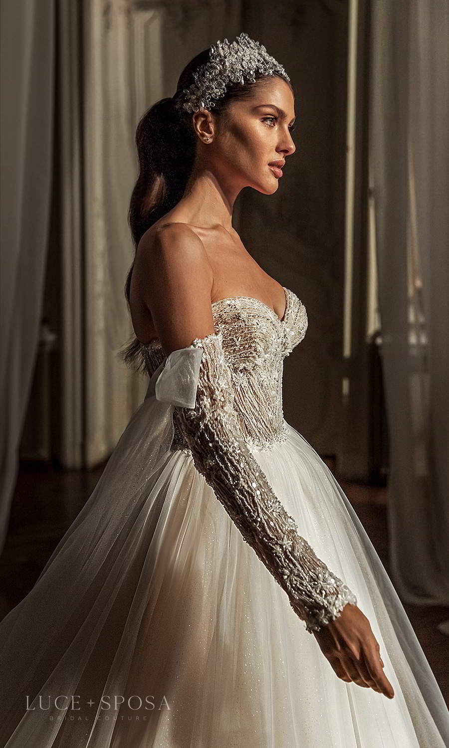 luce sposa 2021 shades of couture bridal long detached sleeves strapless sweetheart neckline heavily embellished bodice a line ball gown wedding dress chapel train (emery) zv