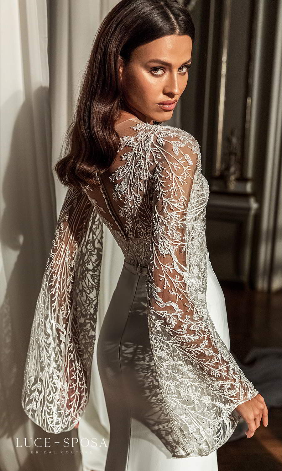 luce sposa 2021 shades of couture bridal long flare sleeves plunging v neckline heavily embellished bodice clean skirt sheath wedding dress (willow) zbv