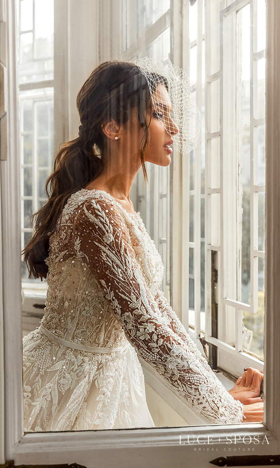 luce sposa 2021 shades of couture bridal long sleeve bateau neckline heavily embellished bodice a line ball gown wedding dress cathedral train champagne (charlotte) zsv
