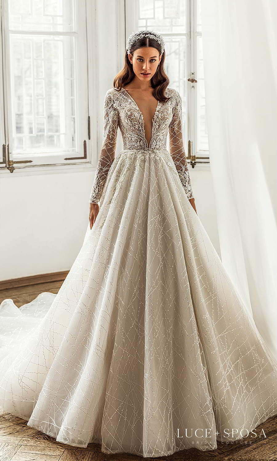luce sposa 2021 shades of couture bridal long sleeve plunging v neckline fully embellished a line ball gown wedding dress cathedral train (kayley) mv