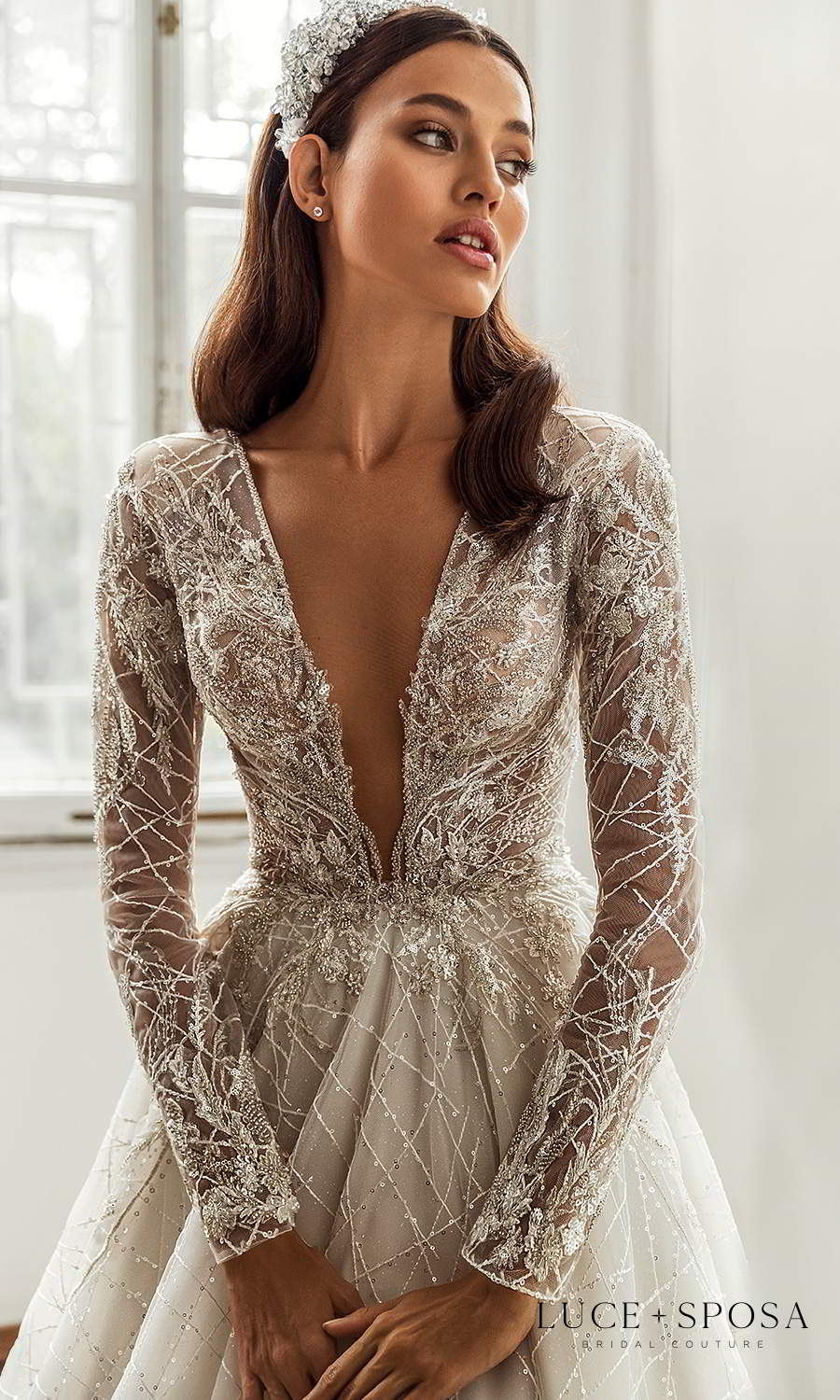 luce sposa 2021 shades of couture bridal long sleeve plunging v neckline fully embellished a line ball gown wedding dress cathedral train (kayley) zv