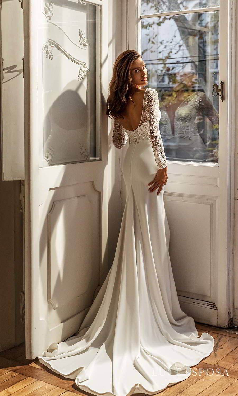 luce sposa 2021 shades of couture bridal long sleeve plunging v neckline heavily embellished bodice clean skirt sheath wedding dress chapel train scoop back (sydney) bv