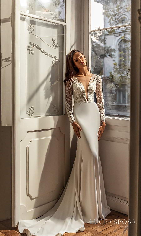 luce sposa 2021 shades of couture bridal long sleeve plunging v neckline heavily embellished bodice clean skirt sheath wedding dress chapel train (sydney) mv