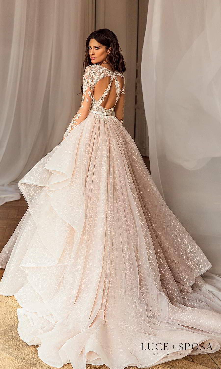 luce sposa 2021 shades of couture bridal long sleeves bateau neckline heavily embellished lace bodice a line ball gown wedding dress chapel train (julia) bv
