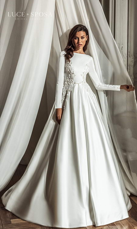 luce sposa 2021 shades of couture bridal long sleeves bateau necklne embellished bodice clean minimalist a line ball gown wedding dress chapel train (sienna) mv