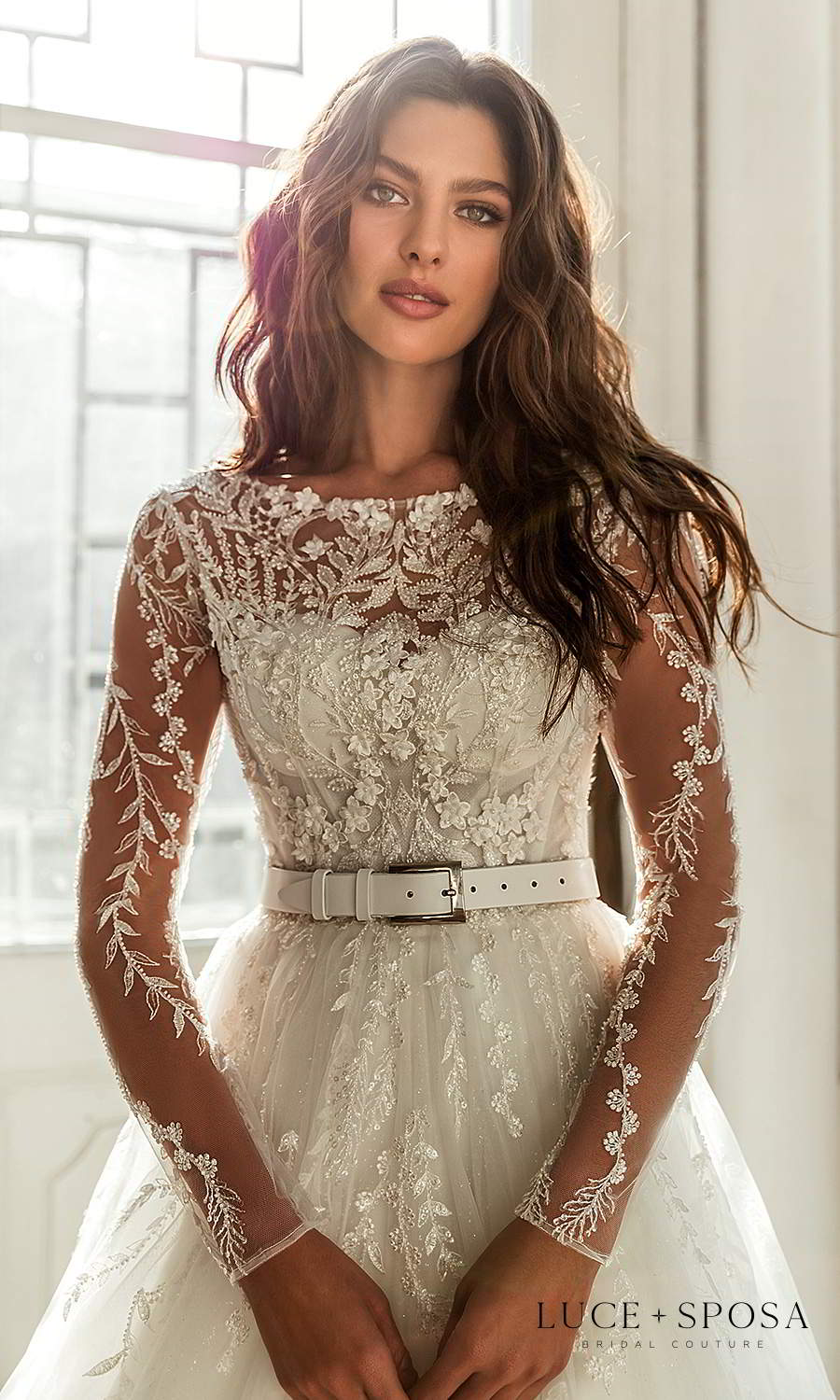 luce sposa 2021 shades of couture bridal long sleeves bateay neckline heavily embellished bodice a line ball gown wedding dress (valentina) zv