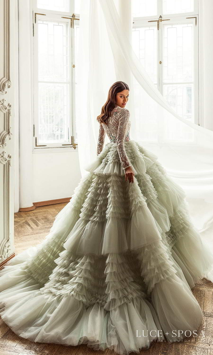 luce sposa 2021 shades of couture bridal long sleeves high neckline heavily embellished bodice a line ball gown wedding dress ruffle skirt chapel train light mint green color (abigail) bv