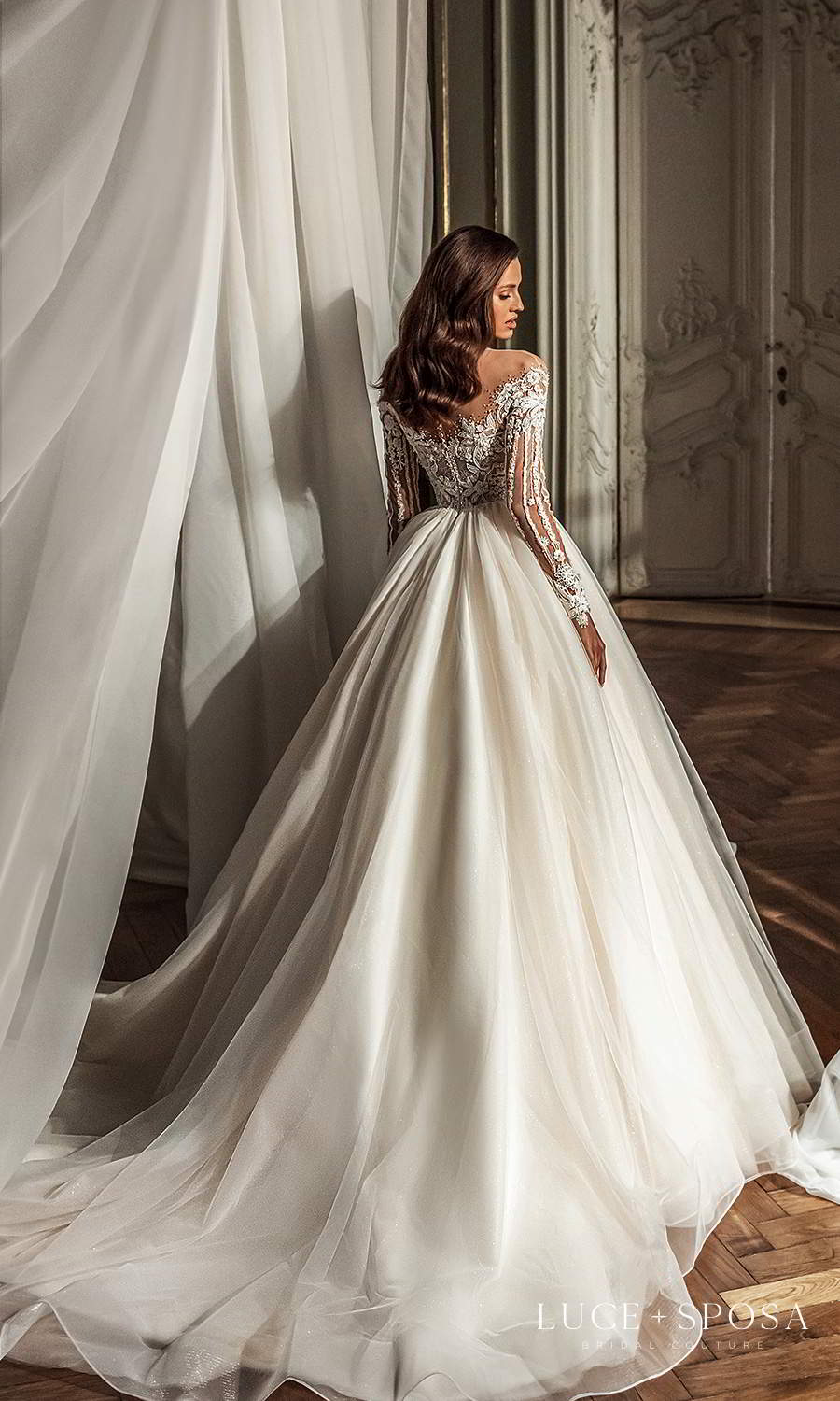 luce sposa 2021 shades of couture bridal long sleeves off shoulder sweetheart neckline heavily embellished bodice a line ball gown wedding dress chapel train (gabriella) bv