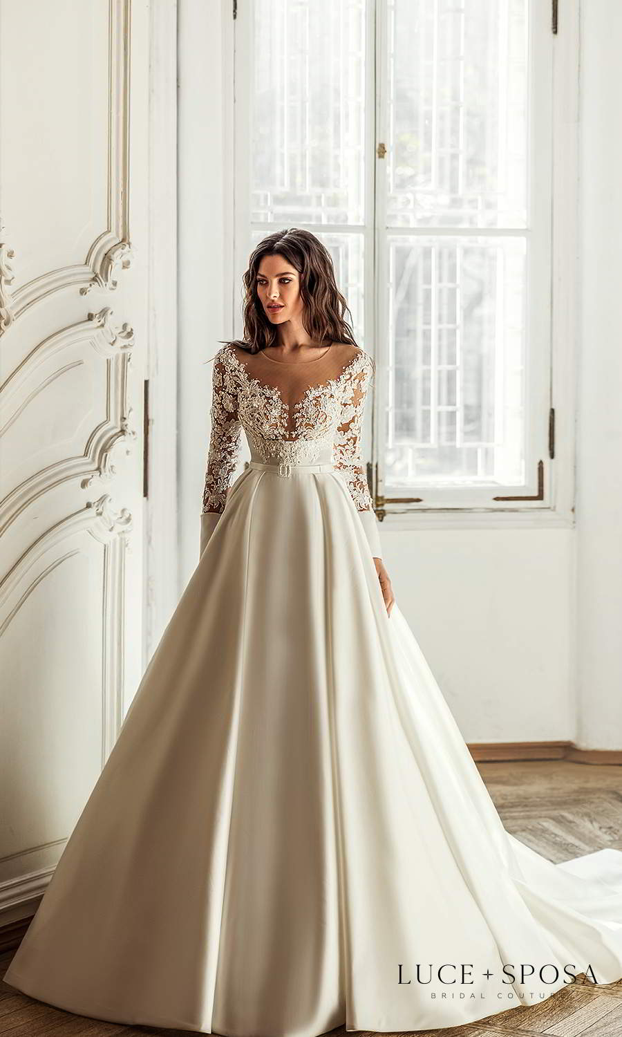luce sposa 2021 shades of couture bridal long sleeves off shoulder v neckline embellished bodice clean skirt a line ball gown wedding dress chapel train (londyn) mv