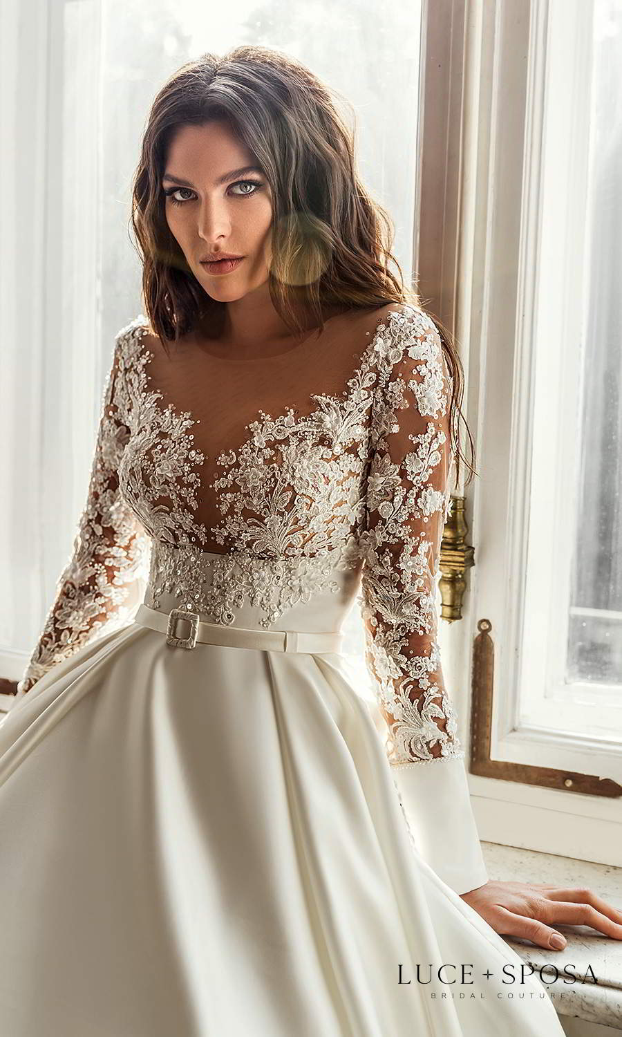 luce sposa 2021 shades of couture bridal long sleeves off shoulder v neckline embellished bodice clean skirt a line ball gown wedding dress chapel train (londyn) zv