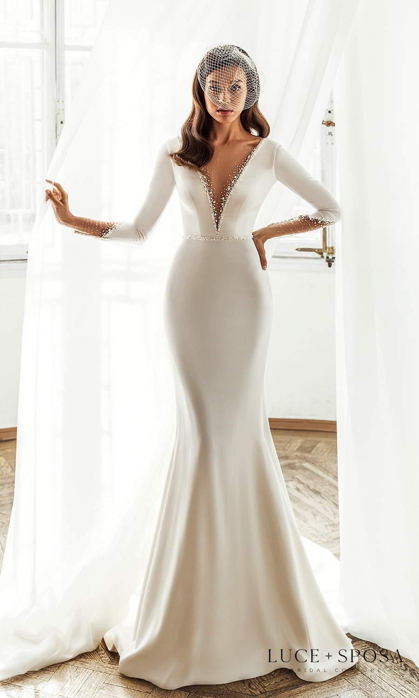 luce sposa 2021 shades of couture bridal long sleeves plunging v neckline clean minimalist trumpet mermaid sheath wedding dress chapel train (josefine) mv