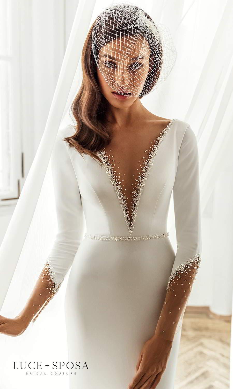 luce sposa 2021 shades of couture bridal long sleeves plunging v neckline clean minimalist trumpet mermaid sheath wedding dress chapel train (josefine) zv