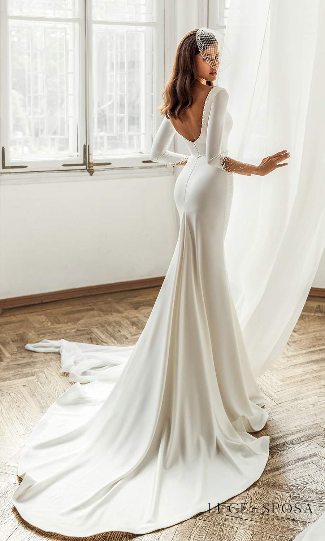 luce sposa 2021 shades of couture bridal long sleeves plunging v neckline clean minimalist trumpet mermaid sheath wedding dress chapel train scoop back (josefine) bv
