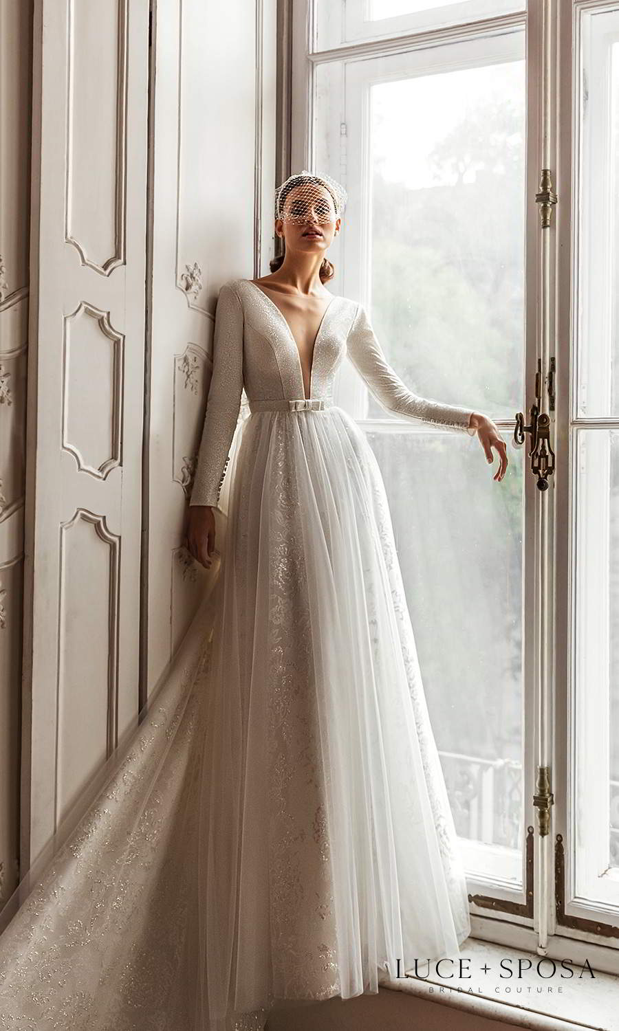 luce sposa 2021 shades of couture bridal long sleeves plunging v neckline embellished a line ball gown wedding dress chapel train (nicole) mv