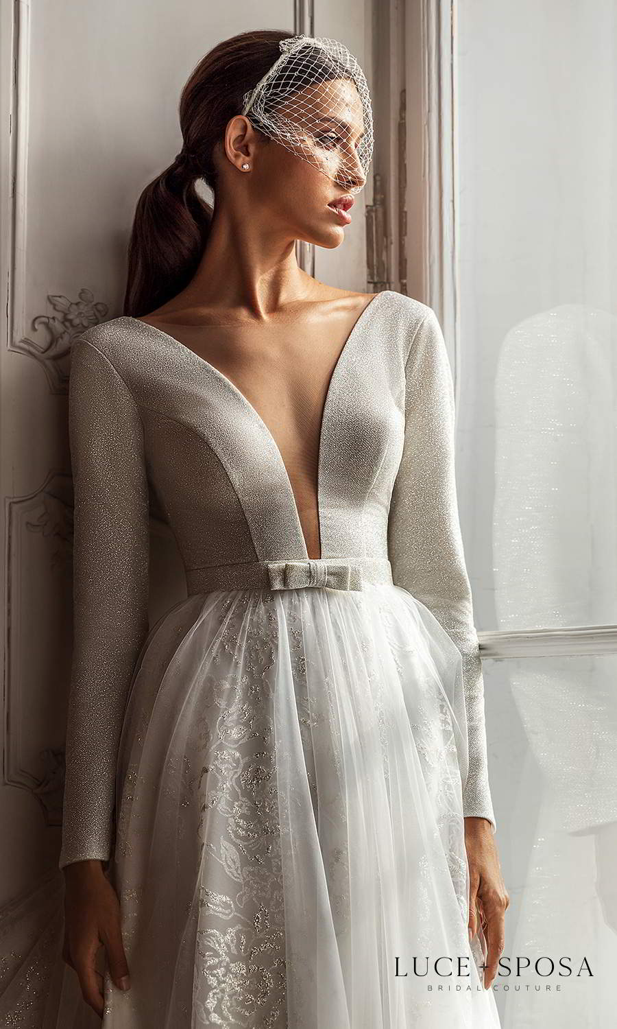 luce sposa 2021 shades of couture bridal long sleeves plunging v neckline embellished a line ball gown wedding dress chapel train (nicole) zv