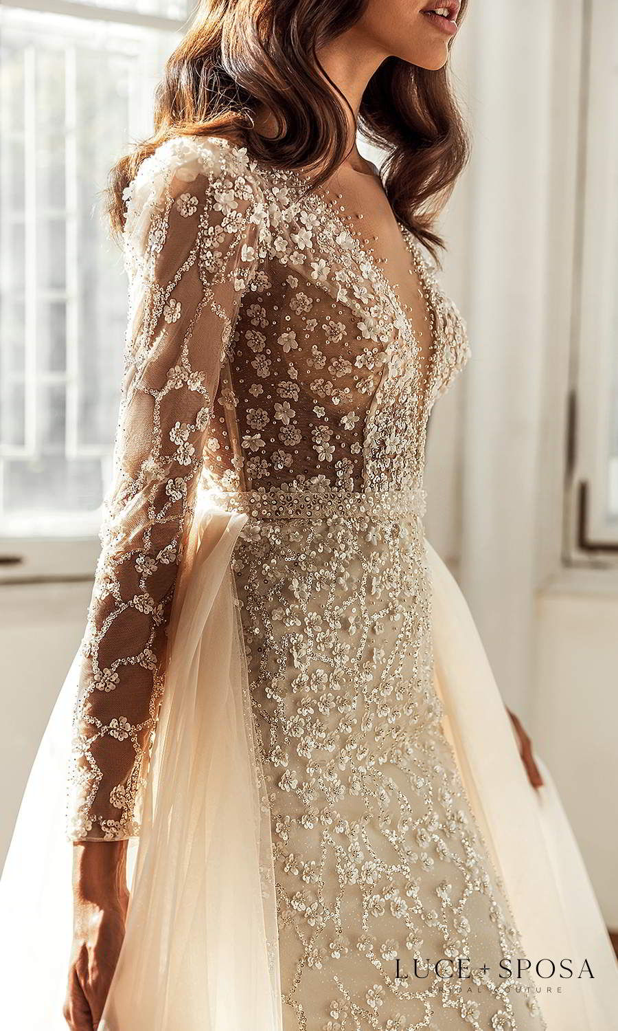 luce sposa 2021 shades of couture bridal long sleeves plunging v neckline fully embellished sheath wedding dress ball gown overskirt chapel train (melody) zsv