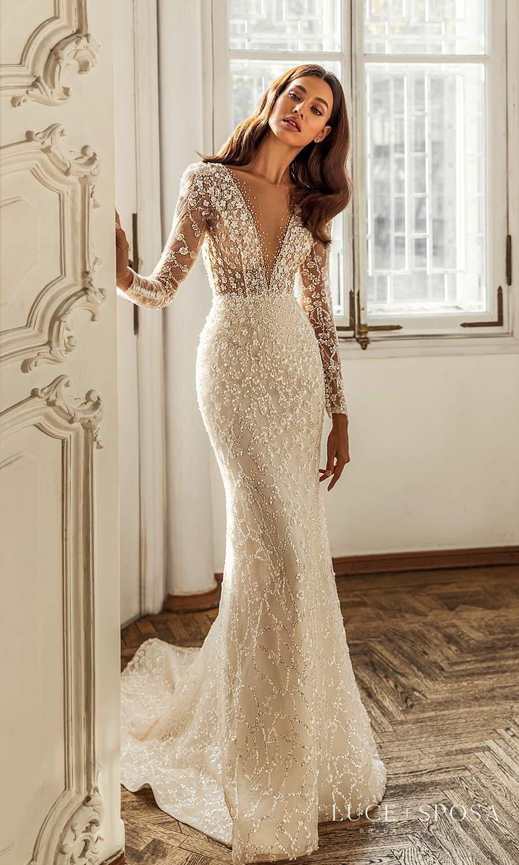 luce sposa 2021 shades of couture bridal long sleeves plunging v neckline fully embellished sheath wedding dress chapel train (melody) mv
