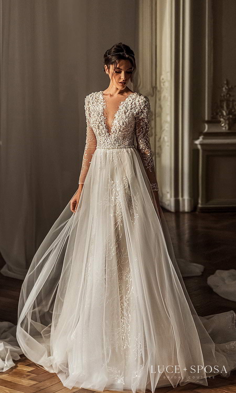 luce sposa 2021 shades of couture bridal long sleeves plunging v neckline heavily embellished bodice a line ball gown wedding dress chapel train (morgan) mv