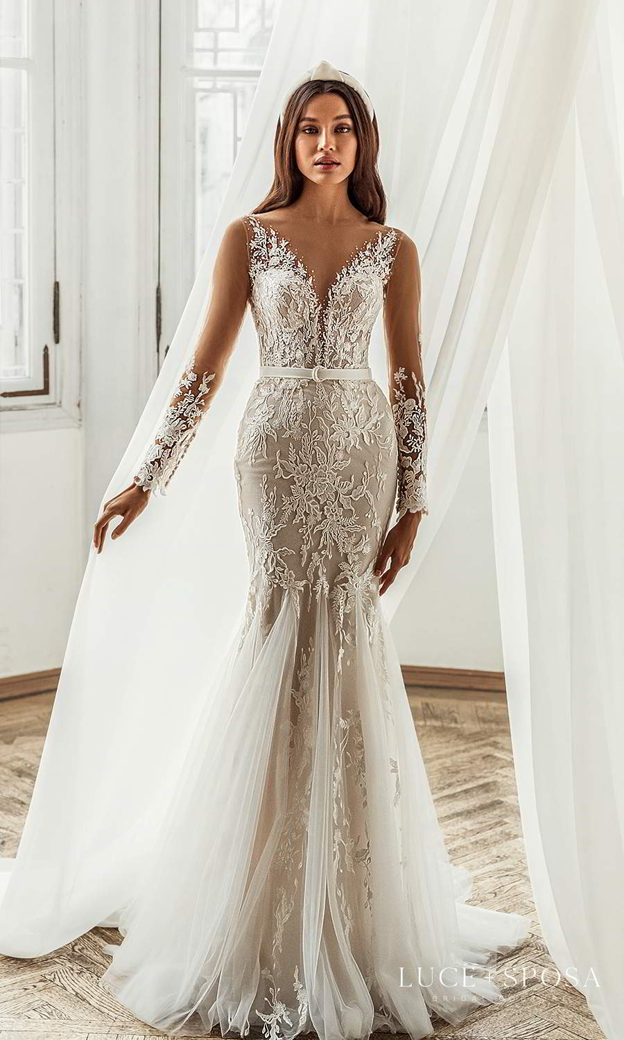 luce sposa 2021 shades of couture bridal long sleeves v neckline fully embellished fit flare wedding dress chapel train (peyton) mv
