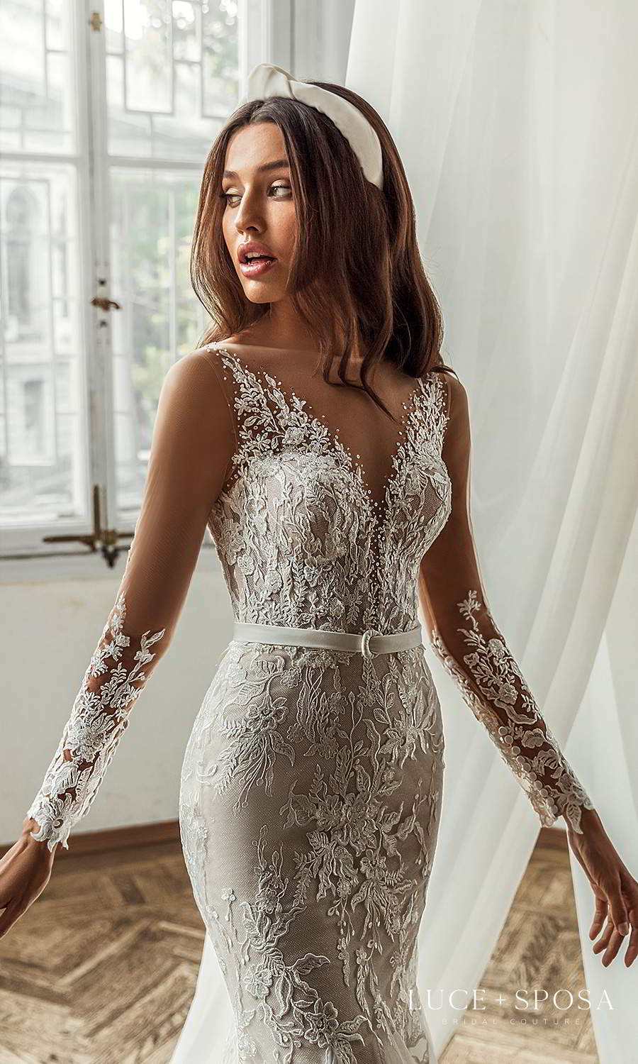 luce sposa 2021 shades of couture bridal long sleeves v neckline fully embellished fit flare wedding dress chapel train (peyton) zv