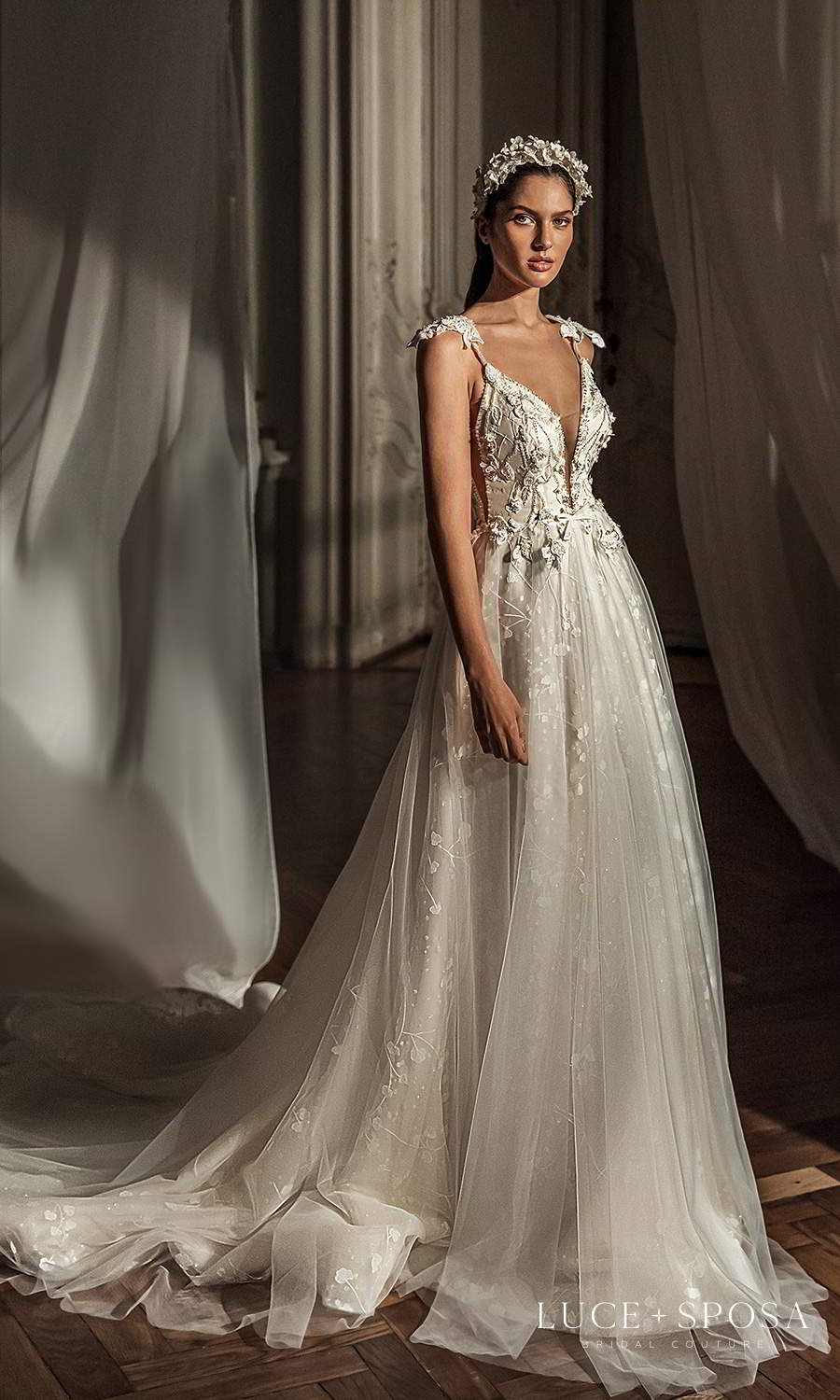 luce sposa 2021 shades of couture bridal mini cap sleeves straps plunging v neckline heavily embellished bodice a line ball gown wedding dress cathedral train (kimberly) mv