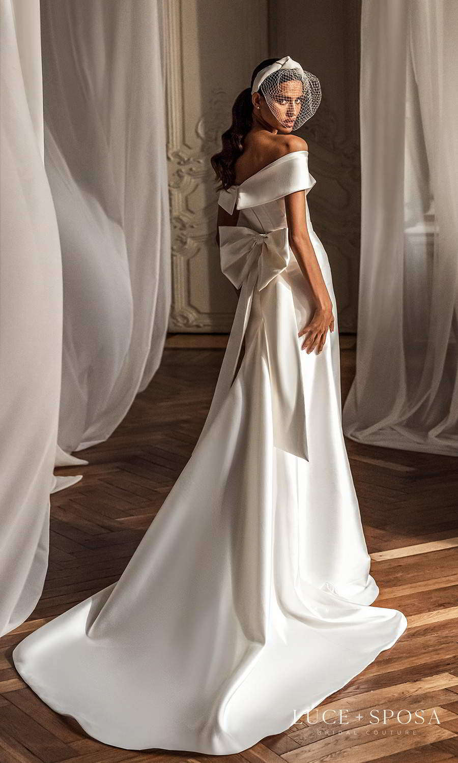 luce sposa 2021 shades of couture bridal off shoulder sleeves surplice sweetheartneckline clean minimalist trumpet modified a line wedding dress chapel train overskirt bow back (emerson) bv