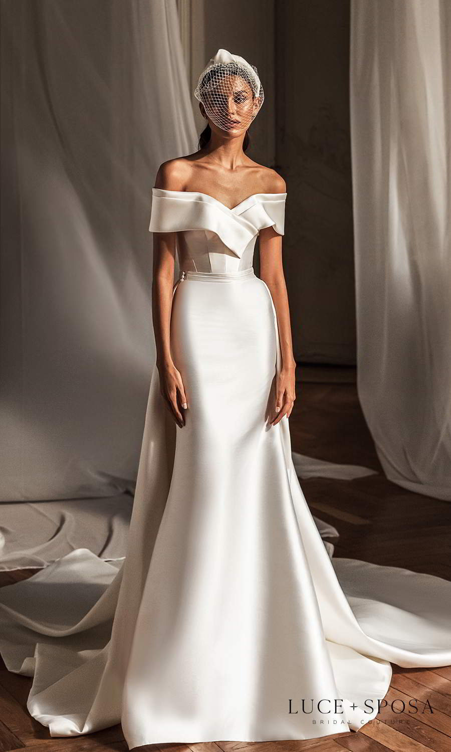 luce sposa 2021 shades of couture bridal off shoulder sleeves surplice sweetheartneckline clean minimalist trumpet modified a line wedding dress chapel train overskirt bow back (emerson) mv