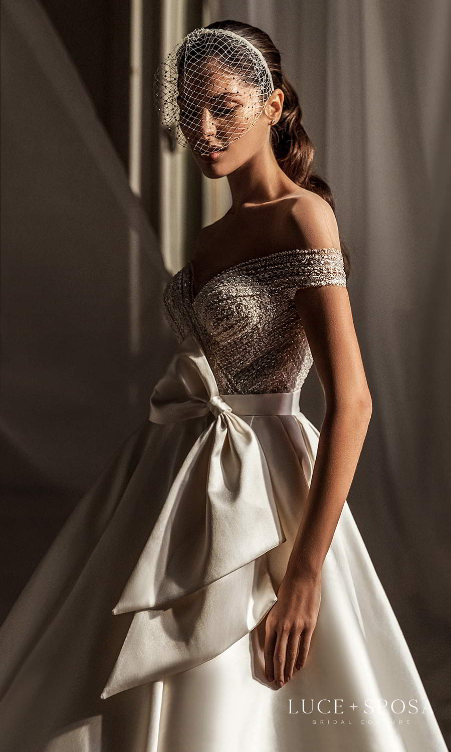 luce sposa 2021 shades of couture bridal off shoulder sleeves sweetheart neckline heavily embellished bodice clean skirt a line ball gown wedding dress chapel train (jade) zv