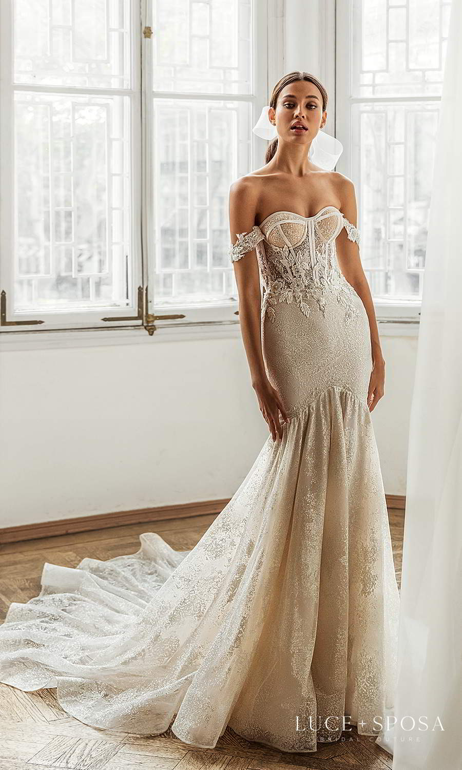 luce sposa 2021 shades of couture bridal off shoulder straps sweetheart neckline embellished fit flare mermaid wedding dress chapel train (crystal) mv