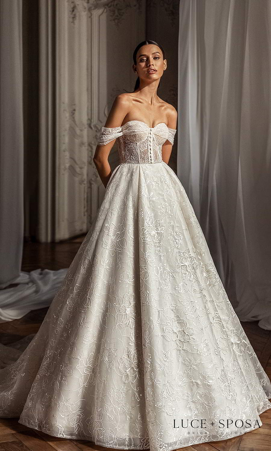 luce sposa 2021 shades of couture bridal off shoulder straps sweetheart neckline fully embellished a line ball gown wedding dress chapel train (olivia) mv