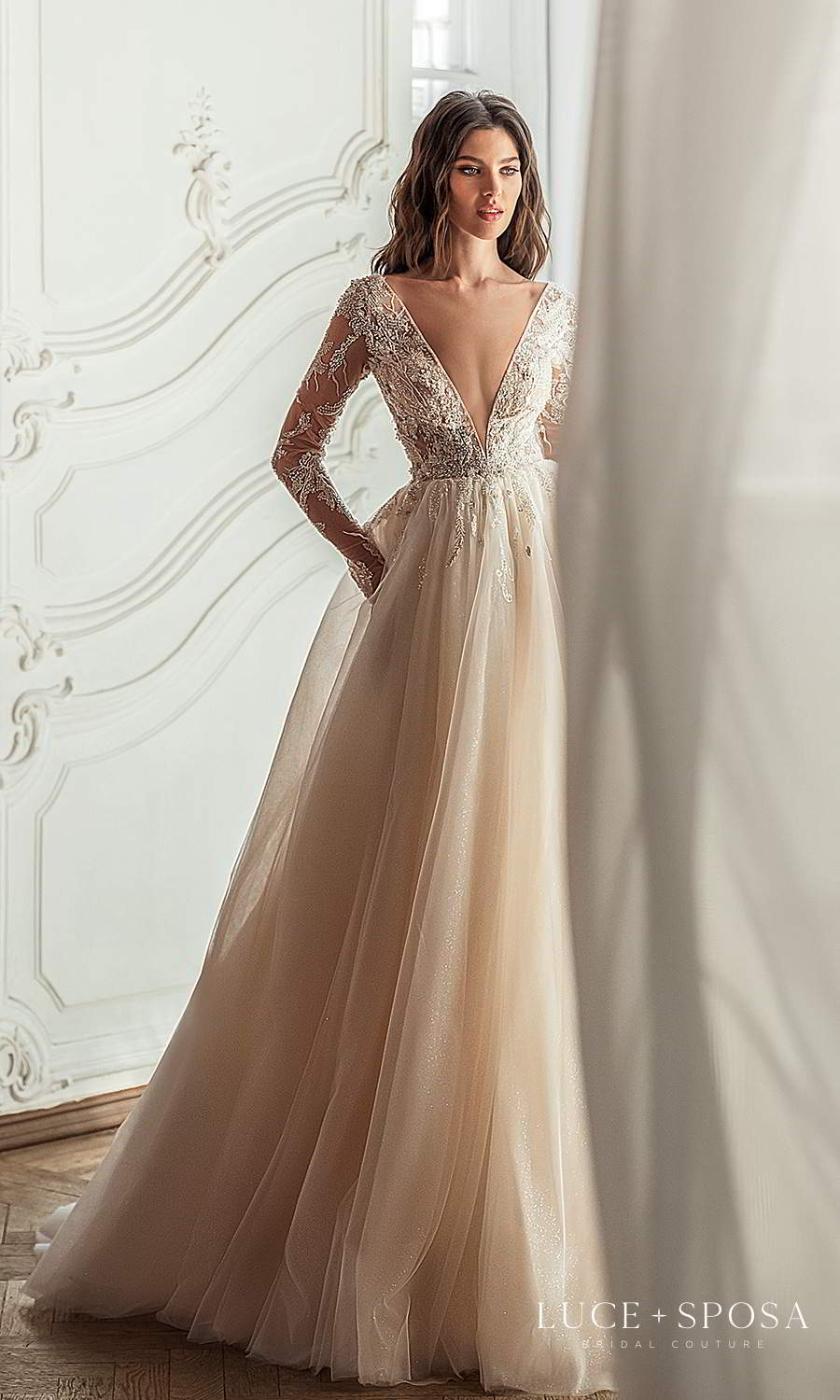 luce sposa 2021 shades of couture bridal shee long sleeves plunging v neckline heavily embellished bodice a line ball gown wedding dress chapel train (penelope) mv