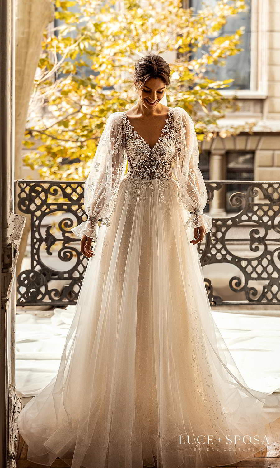 luce sposa 2021 shades of couture bridal sheer bishop sleeves v neckline fully embellished a line ball gown wedding dress boho chic chapel train (eden) mv