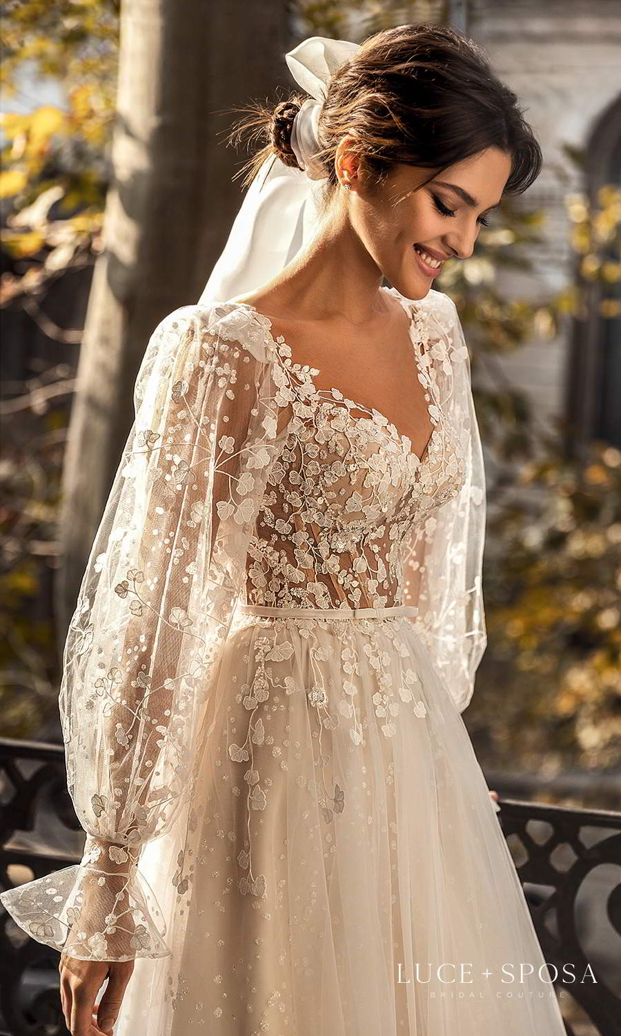 luce sposa 2021 shades of couture bridal sheer bishop sleeves v neckline fully embellished a line ball gown wedding dress boho chic chapel train (eden) zv