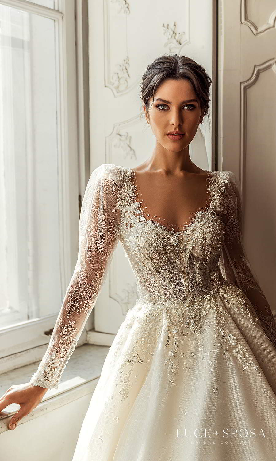 luce sposa 2021 shades of couture bridal sheer long puff sleeves queen anne neckline fully embellished a line ball gownw wedding dress chapel train (anna) zv