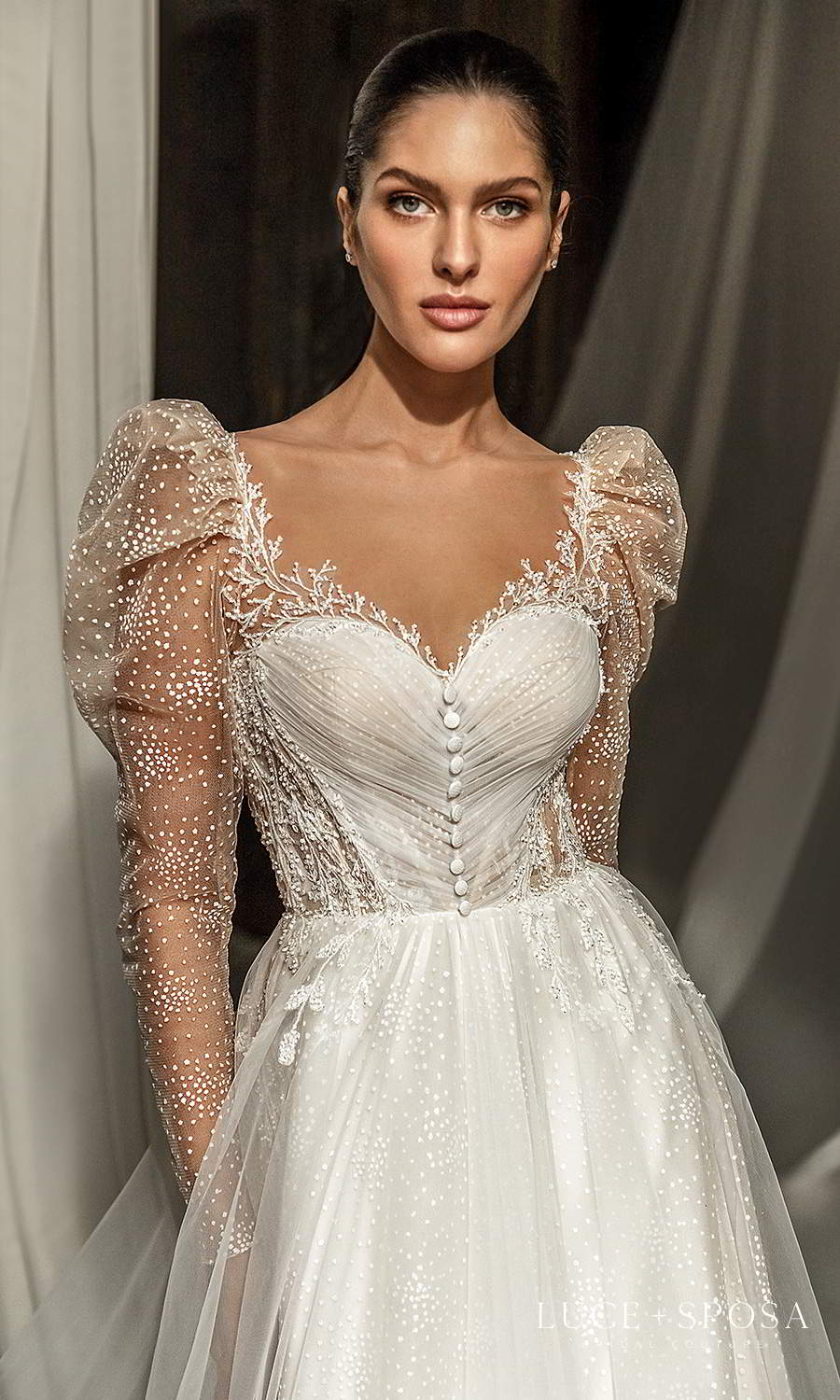 luce sposa 2021 shades of couture bridal sheer long puff sleeves sweetheart neckline ruched bodice a line ball gown wedding dress chapel train (mia) zv