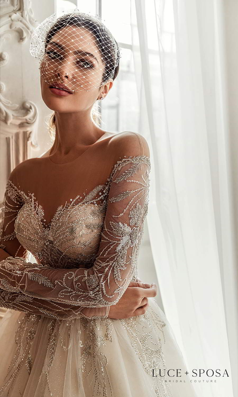 luce sposa 2021 shades of couture bridal sheer long sleeves illusion jewel neck sweetheart neckline heavily embellished a line ball gown wedding dress chapel train (sofia) zv