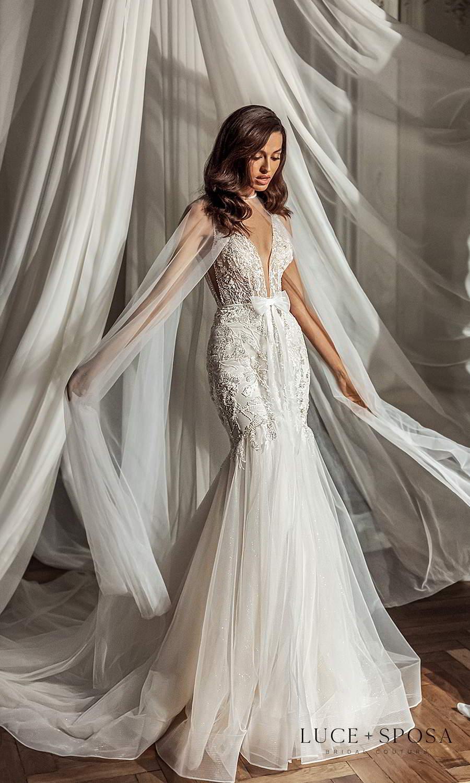 luce sposa 2021 shades of couture bridal sleeveless straps plunging v neckline embellished bodice fit flare mermaid wedding dress chapel train (kinsley) mv