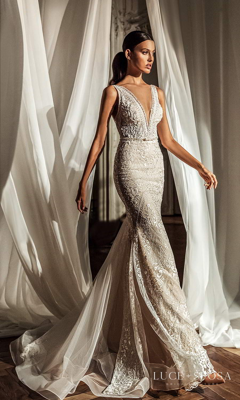 luce sposa 2021 shades of couture bridal sleeveless straps plunging v neckline fully embellished sheath wedding dress chapel train (miranda) mv