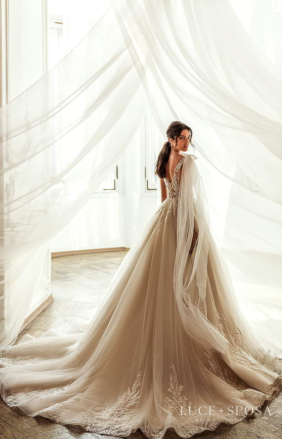 luce sposa 2021 shades of couture bridal sleeveless straps plunging v neckline heavily embellished bodice a line ball gown wedding dress chapel train (mila) bv