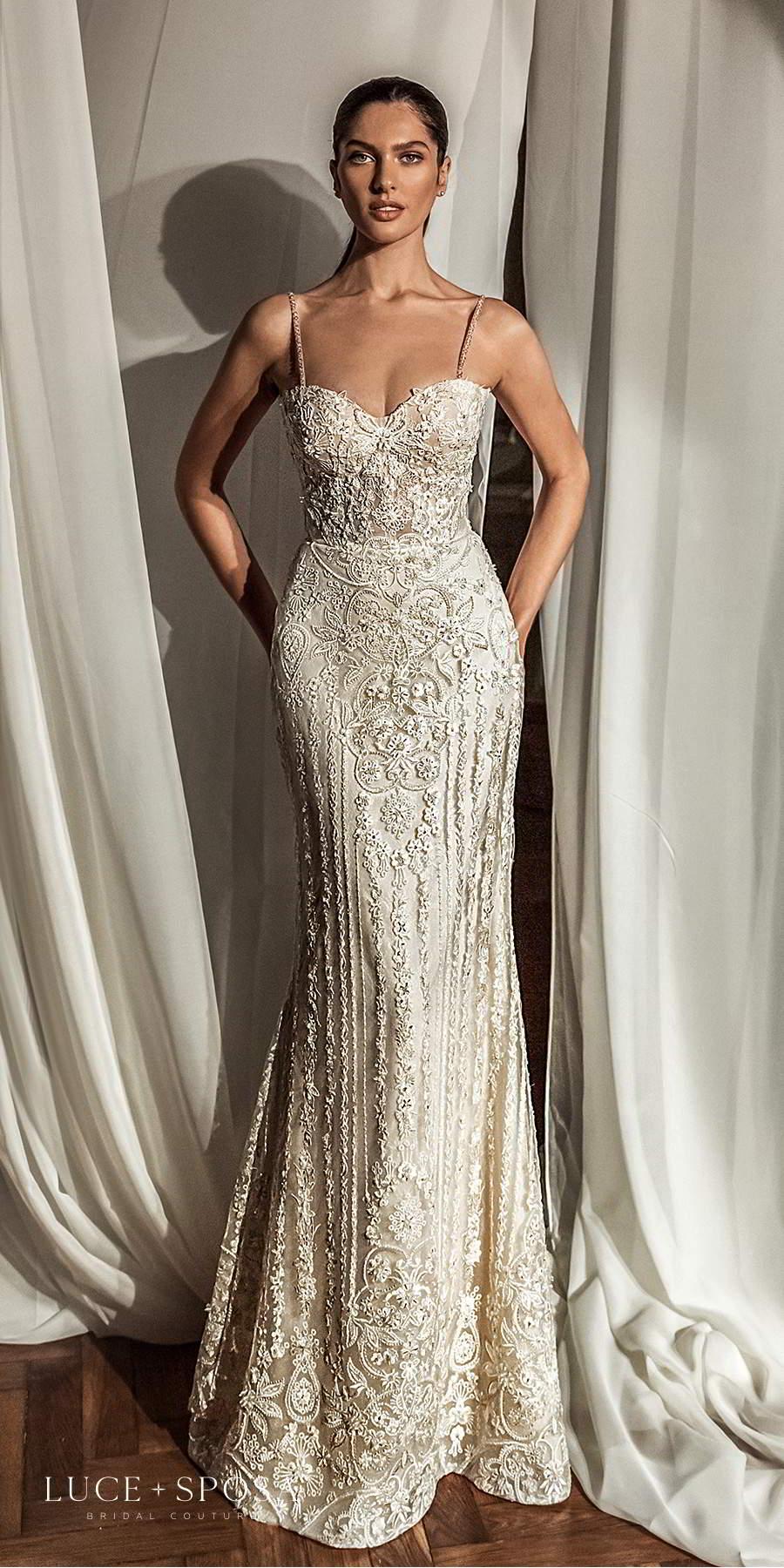 luce sposa 2021 shades of couture bridal sleeveless straps sweetheart neckline fully embellished glamorous sheath wedding dress sweep train (ava) mv
