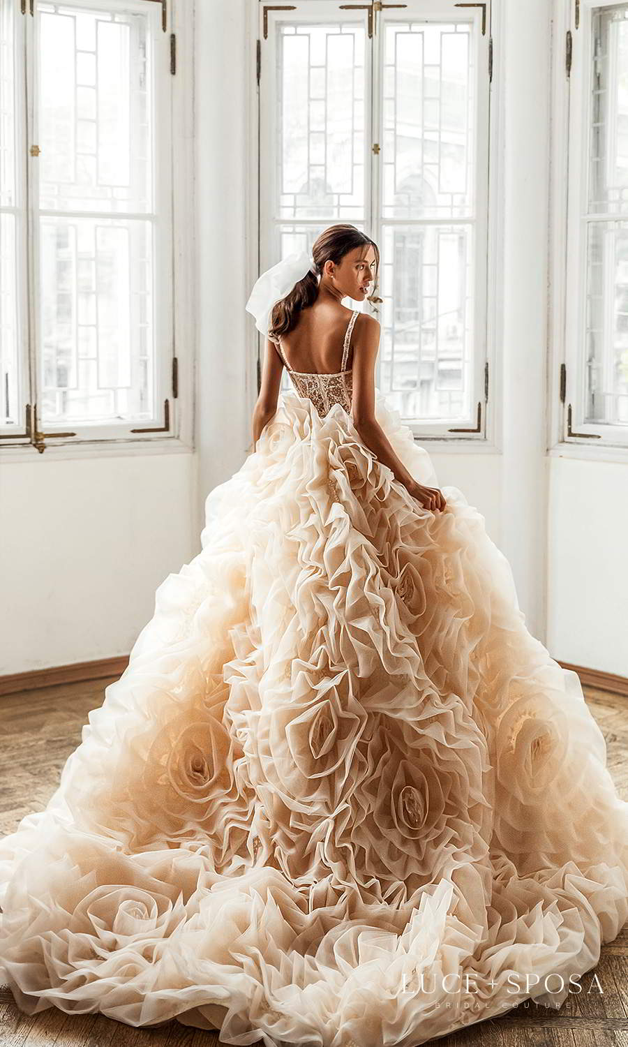 luce sposa 2021 shades of couture bridal sleeveless straps v neckline heavily embellished bodice ruffle flange skirt a line ball gown wedding dress chapel train (isabella) bv