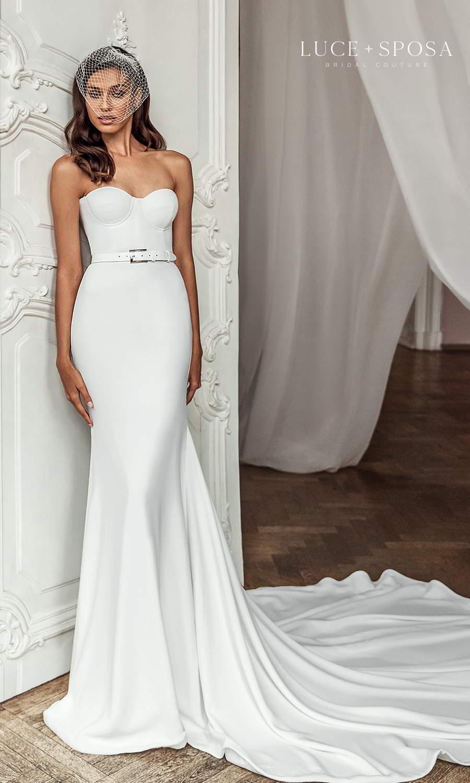 luce sposa 2021 shades of couture bridal strapless sweetheart neckline clean minimalist sheath wedding dress cathedral train belt (joanna) mv