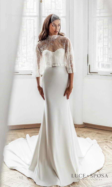 luce sposa 2021 shades of couture bridal strapless sweetheart neckline clean minimalist sheath wedding dress cathedral train belt sheer high neck cape (joanna) mv