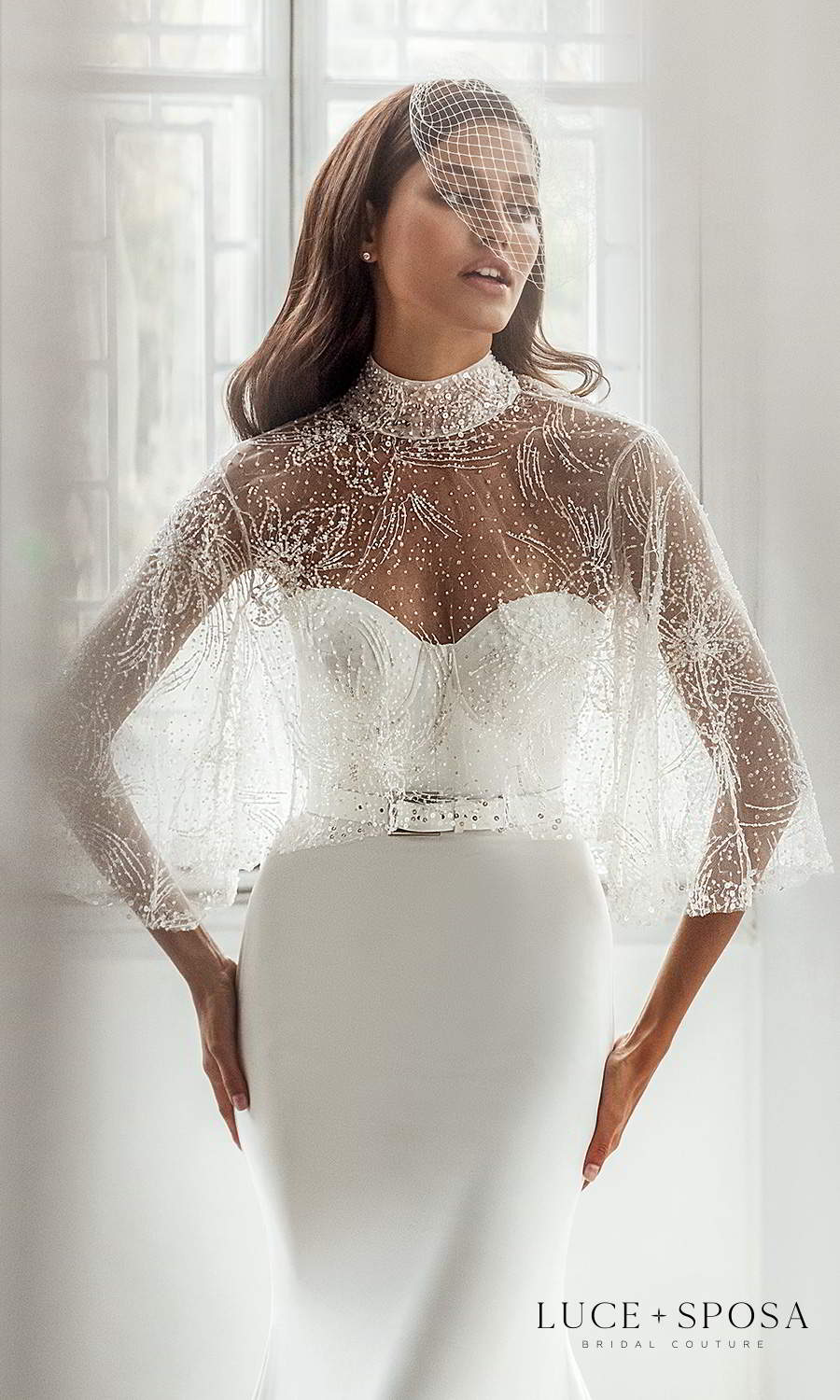 luce sposa 2021 shades of couture bridal strapless sweetheart neckline clean minimalist sheath wedding dress cathedral train belt sheer high neck cape (joanna) zv