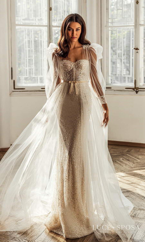 luce sposa 2021 shades of couture bridal strapless sweetheart neckline fully embellished sheath wedding dress sheer long puff sleeve coat sweep train (ariana) mv