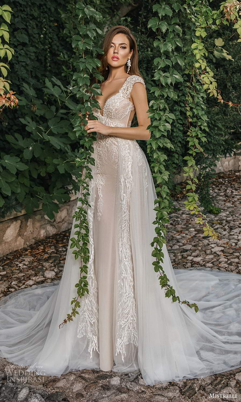 mistrelli 2021 bridal euphoria cap sleeves straps sweetheart neckline embellished bodice mermaid wedding dress a line ball gown overskirt chapel train ivory low back (5) mv