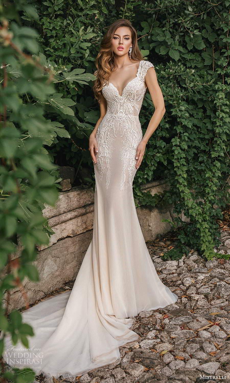 mistrelli 2021 bridal euphoria cap sleeves straps sweetheart neckline embellished bodice mermaid wedding dress chapel train ivory (5) mv