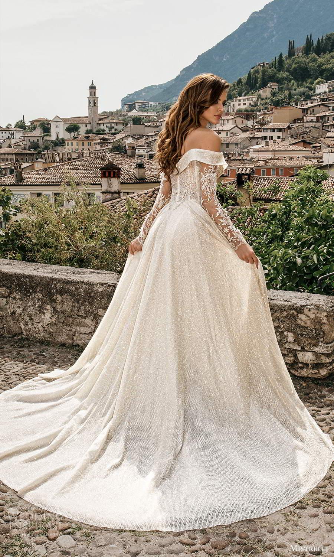 mistrelli 2021 bridal euphoria long sleeves off shoulder sweetheart neckline fully embellished a line ball gown wedding dress chapel train (16) bv